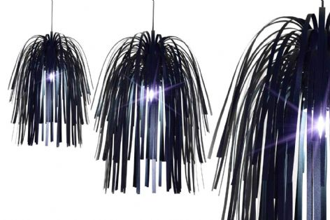 Large Funky Black Modern Firework Spray Designer Light Shade Fixture
